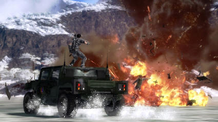 Rico riding in the 'stunt' position while blowing stuff up. Explosions in this game are very nice, too.