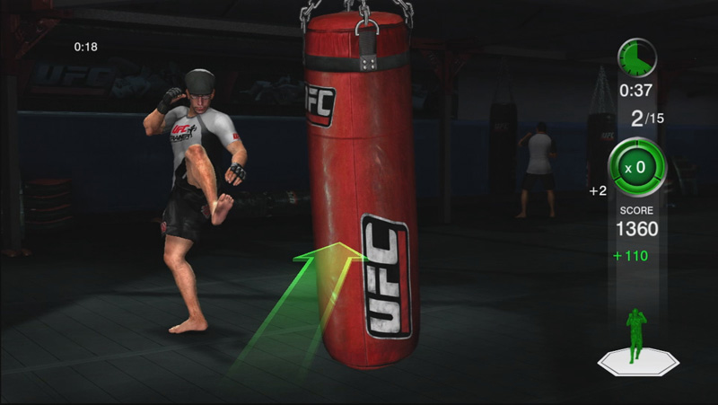 An example of hitting the heavy bag. The arrows change depending on what kind of attack you need to do.